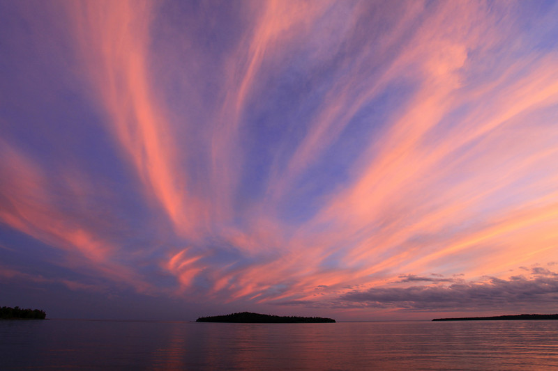 "SATURDAY, SEPTEMBER 3, 2011<br /> <br /> SUPERIOR FALL 1866<br /> <br /> ""Awesome Sunset, Grand Portage Bay""<br /> <br /> Here's a shot of last night's AMAZINGLY AWESOME sunset over Lake Superior. It was certainly one of the best sunset skies that I have EVER seen!<br /> <br /> Camera: Canon EOS 5D Mark II<br /> Lens: Canon EF 17-40mm<br /> Focal length: 17mm<br /> Shutter speed: 1/13<br /> Aperture: f/10<br /> ISO: 200"