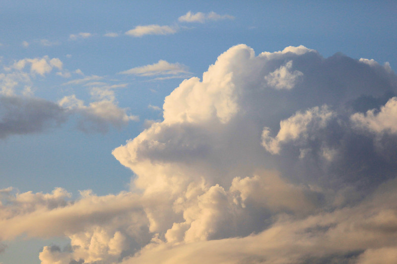 "FRIDAY, AUGUST 10, 2012<br /> <br /> CLOUDS 2708<br /> <br /> ""Evening Thundercloud""<br /> <br /> We sure have had a lot of cool clouds filling our skies lately. This one was captured while I was kayaking the Pigeon River recently. I could hear thunder off in the distance but I never did get rained on while I was out there.<br /> <br /> Camera: Canon EOS 5D Mark II<br /> Lens: Canon EF 100-400mm<br /> Focal length: 220mm<br /> Shutter speed: 1/1600<br /> Aperture: f/14<br /> ISO: 800"