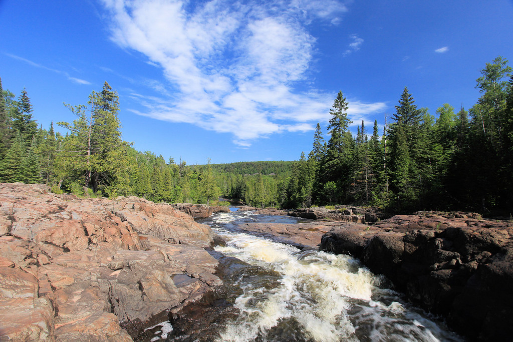 "WEDNESDAY, JUNE 13, 2012<br /> <br /> RIVERS 8366<br /> <br /> ""Glen Avon Falls, Beaver River""<br /> <br /> Taken last Wednesday on our way home from Duluth. We took a short detour off Highway 61 and headed up to Glen Avon Falls on the Beaver River. This was only my second time visiting this location, and I can't wait to go back and see it when the water is higher. It is a spectacular section of the river with lots of photographic possibilities.<br /> <br /> Camera: Canon EOS 5D Mark II<br /> Lens: Canon EF 17-40mm<br /> Focal length: 17mm<br /> Shutter speed: 1/100<br /> Aperture: f/16<br /> ISO: 400"