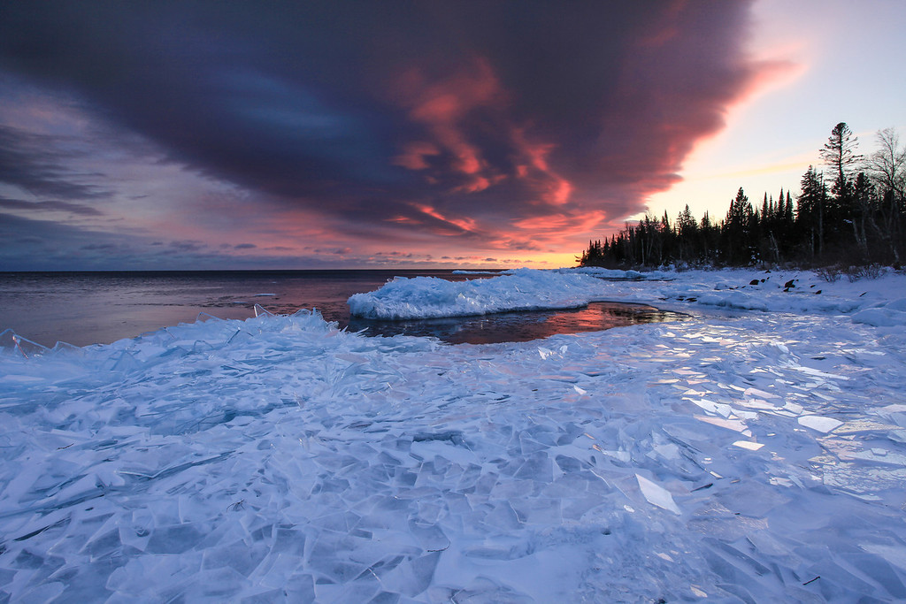"TUESDAY, FEBRUARY 19, 2013<br /> <br /> SUPERIOR WINTER 0711<br /> <br /> ""Plate Ice Paradise""<br /> <br /> Here is another view of the ""Plate Ice Paradise"", taken just before the last bit of sunset color faded away from the clouds. <br /> <br /> Camera: Canon EOS 5D Mark II<br /> Lens: Canon EF 17-40mm<br /> Focal length: 17mm<br /> Shutter speed: 1/4<br /> Aperture: f/16<br /> ISO: 200"