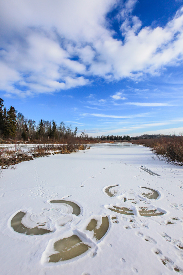 "WEDNESDAY, JANUARY 9, 2013<br /> <br /> PIGEON RIVER 9122<br /> <br /> ""Snow Angels on the Pigeon River Ice""<br /> <br /> During my hike yesterday at Grand Portage State Park I came across this interesting discovery on the river ice... snow angels!  Apparently some park visitors thought it would be the perfect location to plop down on the ice and make some angels.  I, for one, am glad they did as I thought it made for an interesting shot! <br /> <br /> Camera: Canon EOS 5D Mark II<br /> Lens: Canon EF 17-40mm<br /> Focal length: 17mm<br /> Shutter speed: 1/500<br /> Aperture: f/16<br /> ISO: 400"