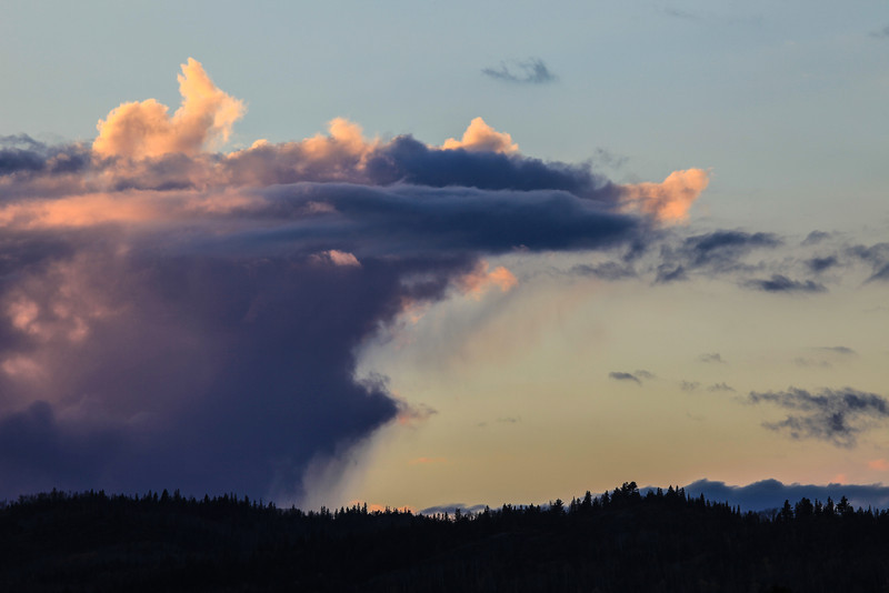 """SATURDAY, NOVEMBER 9, 2013<br /> <br /> CLOUDS 2787<br /> <br /> """"Cloud Rider""""<br /> <br /> Here is a recent shot of some rather interesting clouds at sunset over Grand Portage Bay.  Upon first glance the shape at the top left of the photo reminded me of a rabbit and the first thing I thought was """"Hey, there's a rabbit riding on top of that cloud!""""  Thus, the title for this image was born.  The rabbit shape was only there for maybe about 15 seconds before morphing into another, more abstract shape.  <br /> <br /> Camera: Canon EOS 5D Mark II<br /> Lens: Canon EF 100-400mm<br /> Focal length: 250mm<br /> Shutter speed: 1/25<br /> Aperture: f/16<br /> ISO: 100"""