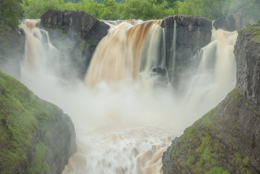 "MONDAY, JULY 7, 2014<br /> <br /> PIGEON RIVER 8244<br /> <br /> ""High Falls - July 6, 2014 - After 3 inches of rain""<br /> <br /> Camera: Canon EOS 5D Mark II<br /> Lens: Canon EF 24-105mm<br /> Focal length: 50mm<br /> Shutter speed: 0.3 sec<br /> Aperture: f/22<br /> ISO: 50"