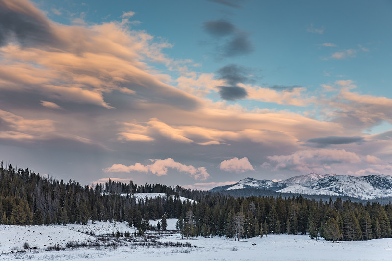 "SUNDAY, DECEMBER 13, 2015<br /> <br /> WYOMING 4581<br /> <br /> ""Yellowstone Sunset - Fawn Pass Trailhead""<br /> <br /> It's a pretty dreary day today here in northeast Minnesota, so here's another colorful shot from our recent trip to Yellowstone National Park.  This photo was made just north of West Yellowstone along Highway 191, at the start of the Fawn Pass Trail.  We had read that this is a popular cross-country ski route, but usually for later in the winter.  There wasn't enough snow to try skiing it when we were there.  Someday I'd like to go back and explore more of this area.  It sure is beautiful!<br /> <br /> Camera: Nikon D750<br /> Lens: Nikon 24-120mm f/4<br /> Focal length: 82mm<br /> Shutter speed: 1/160<br /> Aperture: f/11<br /> ISO: 400"