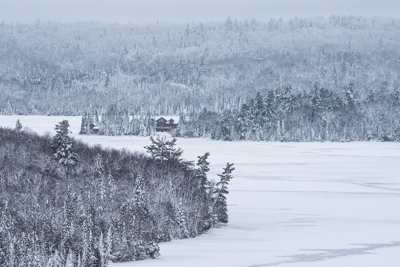 """SUNDAY, DECEMBER 27, 2015<br /> <br /> LAKES 5552<br /> <br /> """"Happy Holidays from the North Woods!""""<br /> <br /> Even though it's a couple of days late since I wasn't on the computer over Christmas, I still would like to wish everyone a happy holiday week!  I hope you all are having a nice time over the holidays.  Up here along the north shore of Lake Superior we got a nice dusting of snow yesterday.  Here is a snowy photo of Hungry Jack Lodge along the Gunflint Trail in northeast Minnesota.  Enjoy!<br /> <br /> Camera: Nikon D750<br /> Lens: Tamron SP 150-600mm<br /> Focal length: 350mm<br /> Shutter speed: 1/640<br /> Aperture: f/16<br /> ISO: 1600"""