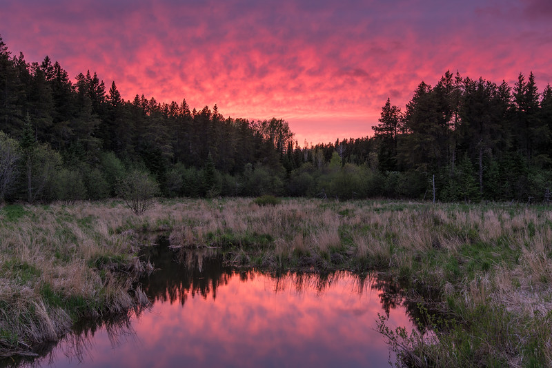 """SATURDAY, MAY 30, 2015<br /> <br /> RIVERS 5601<br /> <br /> """"Sunset Surprise, Hollow Rock Creek""""<br /> <br /> After work yesterday I drove up into the woods to go for a mountain bike ride.  As I was nearing the end of my ride I came to an overlook and saw that the sunset was shaping up to be a good one.  We had rain throughout the morning and cloudy skies all afternoon so it was nice to see things start to clear up just as the sun was setting.  When I got back to the truck I threw my bike in the back and drove to this location to photograph the sunset.  As the clouds lit up with the colors from the setting sun the spring peeper frogs began singing.  It was a perfect end to the day!<br /> <br /> Camera: Nikon D750<br /> Lens: Nikon 16-35mm f/4<br /> Focal length: 32mm<br /> Shutter speed: 0.5 seconds<br /> Aperture: f/11<br /> ISO: 100"""