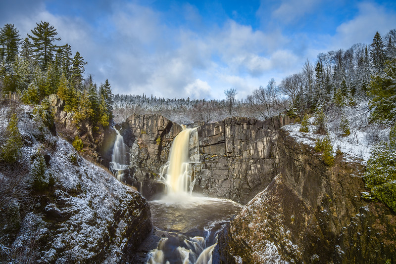 "TUESDAY, NOVEMBER 17, 2015<br /> <br /> PIGEON RIVER 4313<br /> <br /> ""First Snow at High Falls""<br /> <br /> High Falls of the Pigeon River in Grand Portage State Park after the first snowfall of the winter.  Photo was made on November 13, 2015.  Shot with a Nikon D750 camera and Nikon 24-120mm lens.  Exposure length was 1 second with an aperture of f/16 at ISO 100.  I used a 6-stop ND filter to block enough light to get a slow enough exposure to blur the movement of the water.<br /> <br /> Camera: Nikon D750<br /> Lens: Nikon 24-120mm f/4<br /> Focal length: 28mm<br /> Shutter speed: 1 second<br /> Aperture: f/16<br /> ISO: 100"