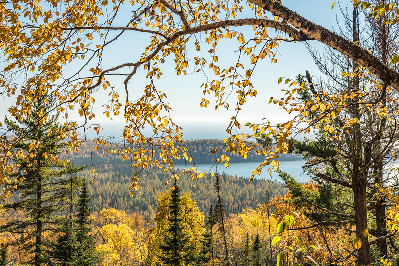 "WEDNESDAY, OCTOBER 14, 2015<br /> <br /> AUTUMN 3047<br /> <br /> ""Lake Superior Autumn View""<br /> <br /> A view of Lake Superior through the autumn colors on the Middle Falls Trail in Grand Portage State Park, MN.<br /> <br /> Camera: Nikon D750<br /> Lens: Nikon 24-120mm f/4<br /> Focal length: 66mm<br /> Shutter speed: 1/1000<br /> Aperture: f/11<br /> ISO: 400"