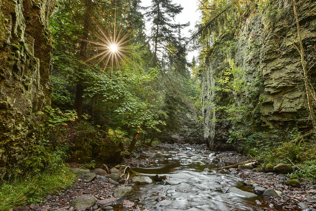 """WEDNESDAY, SEPTEMBER 16, 2015<br /> <br /> RIVERS 0294<br /> <br /> """"Sunrise in the Kadunce River Gorge""""<br /> <br /> The first light of the day shines through the trees into the Kadunce River gorge in northeast Minnesota.  Yesterday I woke at 5:00 AM so I would have plenty of time to get ready and drive to the Kadunce River parking lot.  Sunrise was at about 6:30 and I wanted to be there before that so I could walk up the gorge and have plenty of time to photograph before the sun was high enough to start shining into the gorge.  Indeed I had a lot of time to take pictures before the sunlight started to intrude, yet the first photo I want to share from the outing is this one where I noticed the sun starting to show up through the trees.  I stopped my lens down to f/22 to get this nice starburst effect on the sun as it peeked through a gap in the trees.  What a beautiful gorge and a beautiful morning!  A great start to the day.<br /> <br /> Camera: Nikon D750<br /> Lens: Nikon 14-24mm f/2.8<br /> Focal length: 24mm<br /> Shutter speed: 0.5 seconds<br /> Aperture: f/22<br /> ISO: 100"""