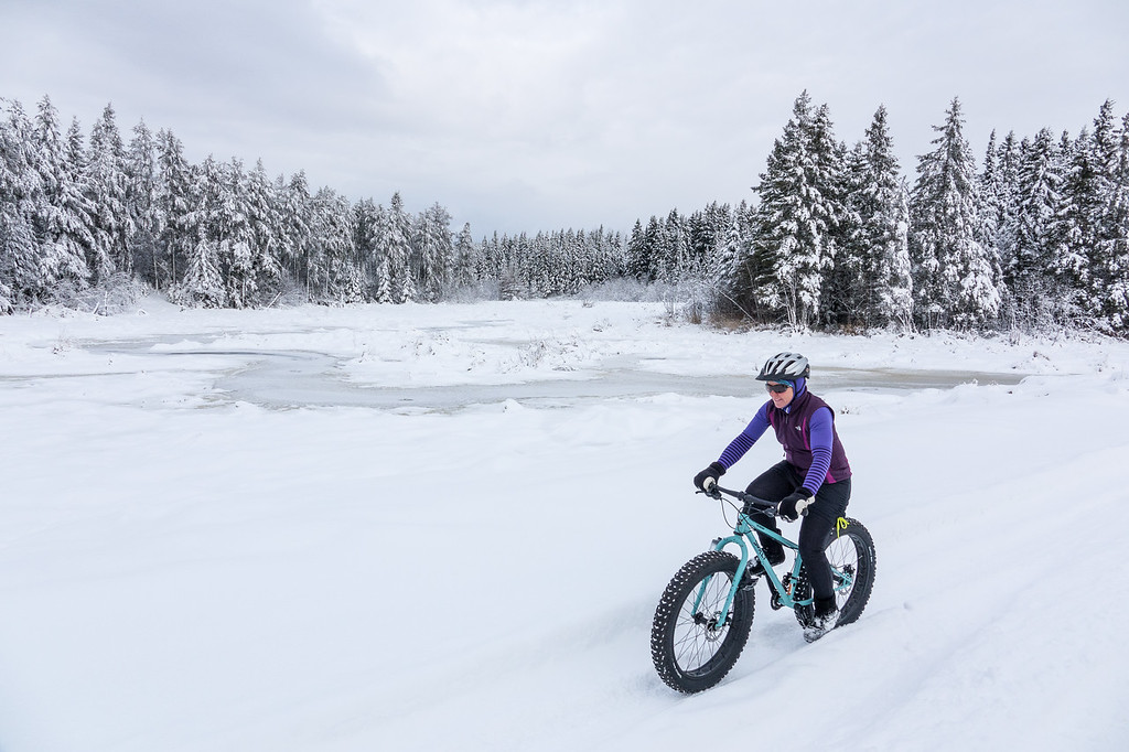 "WEDNESDAY, DECEMBER 7, 2016<br /> <br /> BIKING 03769<br /> <br /> ""First Snow Ride - December 7, 2016""<br /> <br /> We got the fat bikes out today for their first snow ride of the season!  Down along the Lake Superior shoreline there is hardly any snow at all, but a few miles inland it's a different story.  It's a winter wonderland!  There is a about a foot of snow inland from Lake Superior and all the trees have a beautiful blanket of snow on them.  Old Highway 61 wasn't plowed but it had some nicely packed ruts which made for a great ride.  Such a great day to be outside!<br /> <br /> Camera: Sony DSC-RX10M3<br /> Focal length: 24mm<br /> Shutter speed: 1/1600<br /> Aperture: f/4<br /> ISO: 200"
