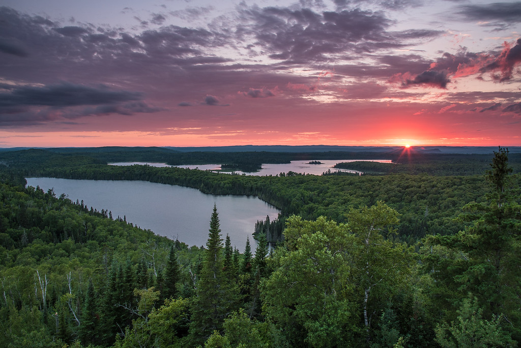 "TUESDAY, JULY 26, 2016<br /> <br /> LAKES 8998<br /> <br /> ""Sunset over the lakes of Grand Portage""<br /> <br /> A beautiful sunset over Speckled Trout Lake and Swamp Lake from a couple of nights ago.  One of my favorite views on this Earth :-)<br /> <br /> Camera: Nikon D750<br /> Lens: Nikon 24-120mm f/4<br /> Focal length: 24mm<br /> Shutter speed: 1/8<br /> Aperture: f/11<br /> ISO: 200"