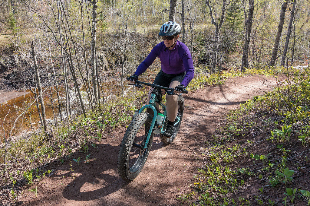 "THURSDAY, MAY 19, 2016<br /> <br /> BIKING 00304<br /> <br /> ""Singletrack Adventure on Lester River""<br /> <br /> We finally got to try out some real singletrack trails!  It sure was a big change from riding a wide variety of gravel roads, which is what we're used to.  It was challenging for both of us but lots of fun! The trails were beautiful and the amount of work that goes into building and maintaining them is nothing short of astounding.  A big thanks to COGGS (Cyclists of Gitchee Gumee Shores) for providing these awesome trails for us to ride!  This photo was taken on the Lester River Trail in Duluth, MN.<br /> <br /> Camera: Sony DSC-RX100M3<br /> Focal length: 24mm<br /> Shutter speed: 1/800<br /> Aperture: f/4.5<br /> ISO: 400"