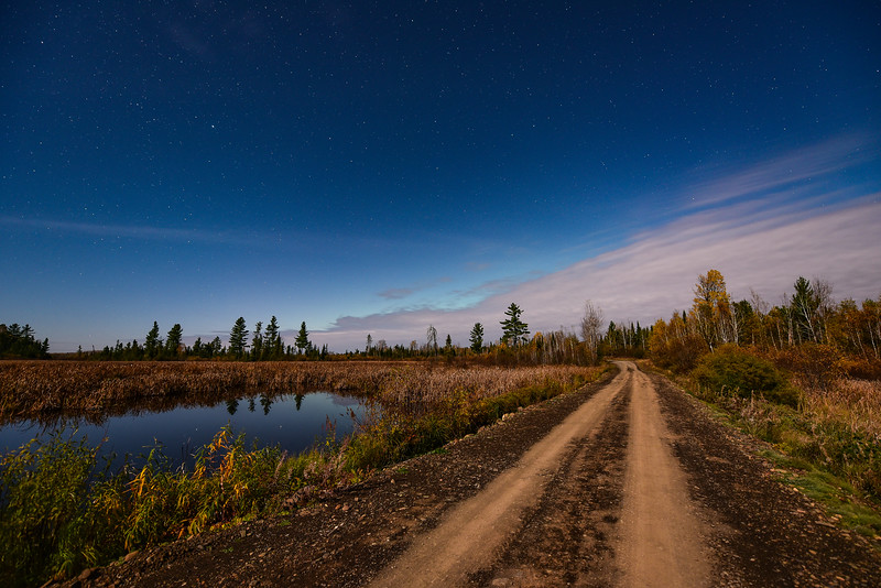 "SUNDAY, NOVEMBER 27, 2016<br /> <br /> MOONLIGHT 0712<br /> <br /> ""A quiet night on the back roads""<br /> <br /> I made this photograph earlier this autumn along Arrow River Road in Ontario, Canada.  I was out looking for the northern lights, which were supposed to make an appearance that night.  All I could see in terms of the northern lights was the faintest glow of light coming from behind the clouds.  It never got any brighter than what you see in this photo.  It was also a full moon that night, which is why the foreground is so bright.<br /> <br /> Camera: Nikon D750<br /> Lens: Nikon 14-24mm f/2.8<br /> Focal length: 14mm<br /> Shutter speed:  15 seconds<br /> Aperture: f/2.8<br /> ISO: 800"