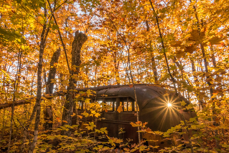 "WEDNESDAY, OCTOBER 5, 2016<br /> <br /> AUTUMN 04087<br /> <br /> ""Autumn Sunset at The Old Bus""<br /> <br /> A long-forgotten old bus makes for an interesting foreground to an autumn image with the sun visible through one of the bus windows.<br /> <br /> Camera: Sony DSC-RX100M3<br /> Focal length: 24mm<br /> Shutter speed: 1/20<br /> Aperture: f/11<br /> ISO: 200"