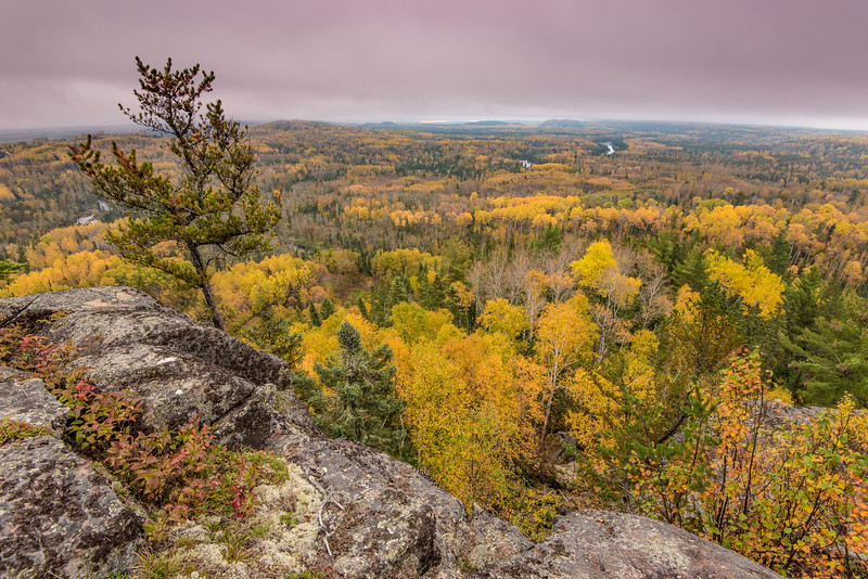 """THURSDAY, OCTOBER 6, 2016<br /> <br /> AUTUMN 0264<br /> <br /> """"October Morning in Border Country""""<br /> <br /> The Superior Hiking Trail at the 270 Overlook near the Minnesota/Ontario border.  You can see 3 sections of the Pigeon River in this photo.  Everything on this side of the river is in Minnesota, the other side of the river is Ontario, Canada.<br /> <br /> Camera: Nikon D750<br /> Lens: Nikon 16-35mm f/4<br /> Focal length: 16mm<br /> Shutter speed: 1/6<br /> Aperture: f/11<br /> ISO: 400"""