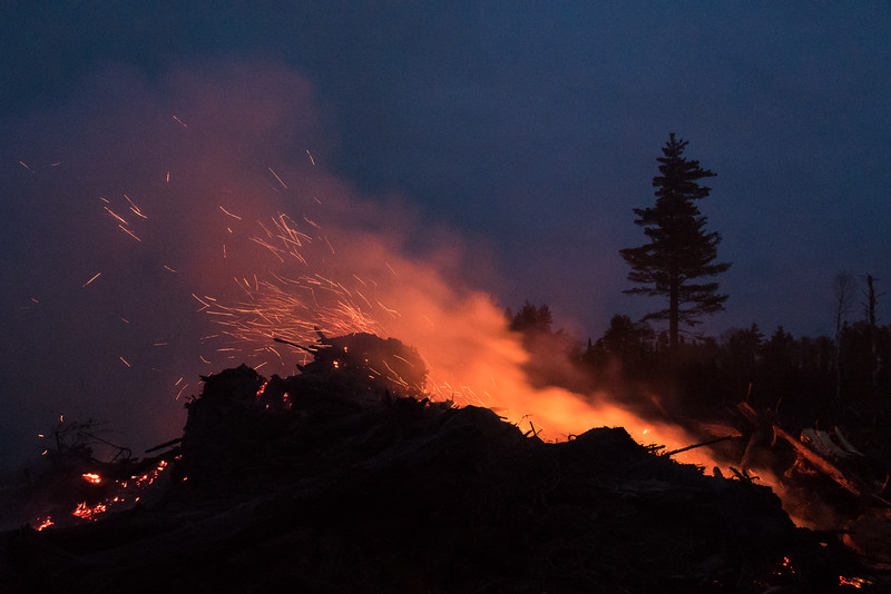 """MONDAY, OCTOBER 17, 2016<br /> <br /> FOREST 02279<br /> <br /> """"Burning Slash Pile""""<br /> <br /> Last week I was driving home via the backroads after a long full-day hike when I came across these burning slash piles in an area that had been logged earlier this year.  It was after sunset and starting to get pretty dark so the fires really stood out.  Even though I was super tired I stopped and spent a good 45 minutes photographing the fires.  I mostly shot video of the dancing flames but I also shot a few stills.  Fire is really interesting to photograph.  I had a hard time pulling myself away to continue the drive home.  Logged areas make for really good night photography locations, as the mature trees that are left as seed trees stand out against the night sky.  This area will also provide good habitat for moose in the coming years.  <br /> <br /> Camera: Sony DSC-RX10M3<br /> Focal length: 29mm<br /> Shutter speed: 1/10<br /> Aperture: f/2.8<br /> ISO: 3200"""