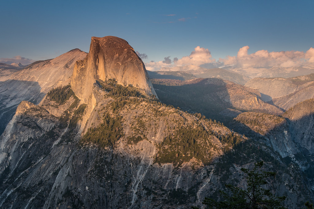 "WEDNESDAY, SEPTEMBER 28, 2016<br /> <br /> CALIFORNIA 0048<br /> <br /> ""Sunset on Half Dome""<br /> <br /> After we had completed our hikes to Sentinel Dome and Taft Point it was time to head back to Glacier Point for sunset.  Glacier Point at sunset is a wonderful thing.  Watching the last sunlight of the day illuminating Half Dome is a sight that I'll never forget.  The dome is angled just right for catching the light from the setting sun.  What an amazing place, this mountain country of California!  I simply cannot wait to go back :-)<br /> <br /> Camera: Nikon D750<br /> Lens: Nikon 24-120mm f/4<br /> Focal length: 50mm<br /> Shutter speed:  1/30<br /> Aperture: f/11<br /> ISO: 100"