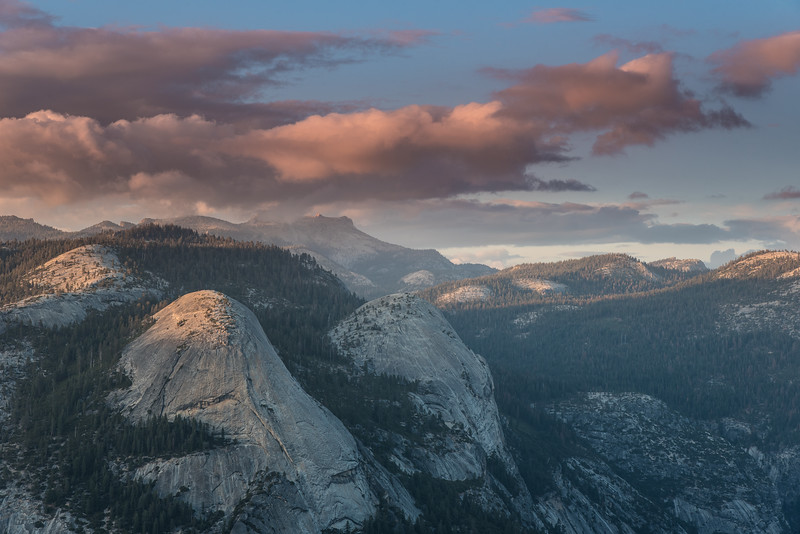 "THURSDAY, SEPTEMBER 29, 2016<br /> <br /> CALIFORNIA 0052<br /> <br /> ""Sunset, North Dome and Basket Dome""<br /> <br /> Our last evening in the mountains of California was an unforgettable one.  We witnessed some beautiful colors and clouds from Glacier Point.  In this photo you can see the sunlit clouds over North Dome and Basket Dome.  So much beauty everywhere you look in this park!  Sometimes its hard to decide what to point your lens at :-)<br /> <br /> Camera: Nikon D750<br /> Lens: Nikon 24-120mm f/4<br /> Focal length: 75mm<br /> Shutter speed:  1/15<br /> Aperture: f/11<br /> ISO: 100"