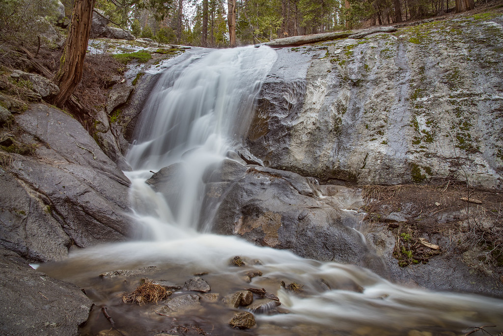 "MONDAY, APRIL 17, 2017<br /> <br /> CALIFORNIA 2355<br /> <br /> ""No-name waterfall""<br /> <br /> A small but beautiful no-name waterfall in the Giant Forest of Sequoia National Park, California.<br /> <br /> Camera: Nikon D750<br /> Lens: Nikon 24-120mm f/4<br /> Focal Length: 24mm<br /> Exposure Time: 6 seconds<br /> Aperture: f/16<br /> ISO: 100"