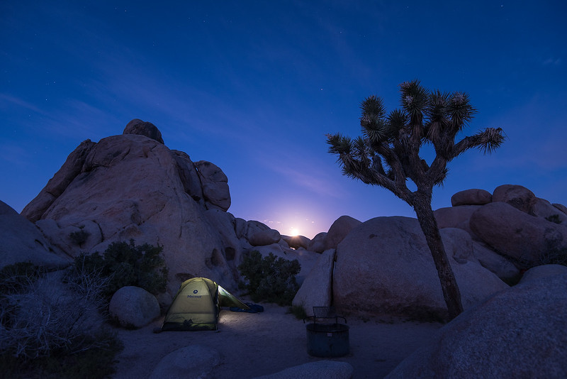 "WEDNESDAY, APRIL 19, 2017<br /> <br /> CALIFORNIA 2502<br /> <br /> ""Campsite Moonset at 5:00 A.M.""<br /> <br /> Here's another photo of our campsite, this time taken at 5:00 A.M. just as the moon was setting behind the rocks.  What a peaceful night!<br /> <br /> Camera: Nikon D750<br /> Lens: Nikon 16-35mm f/4<br /> Focal Length: 16mm<br /> Exposure Time: 6 seconds<br /> Aperture: f/4<br /> ISO: 400"