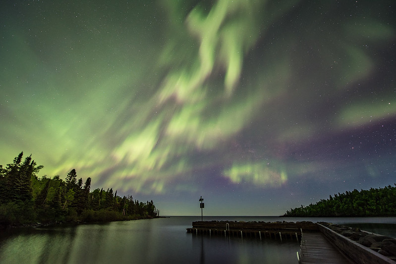 """SATURDAY, AUGUST 11, 2017<br /> <br /> AURORA 6138<br /> <br /> """"Horseshoe Bay Aurora""""<br /> <br /> I'm still working on photos from the night of June 22, 2015!  I just keep finding more and more images that I want to edit and upload to my website.  This one is the view looking south from the public boat ramp on Horseshoe Bay of Lake Superior in Hovland, MN. <br /> <br /> Camera: Nikon D750<br /> Lens: Nikon 14-24mm f/2.8<br /> Focal Length: 14mm<br /> Exposure Time: 15 seconds<br /> Aperture: f/2.8<br /> ISO: 1250"""