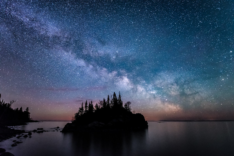 "MONDAY, AUGUST 28, 2017<br /> <br /> MILKY WAY 5093<br /> <br /> ""Horseshoe Bay Milky Way""<br /> <br /> The Milky Way Galaxy as seen over the small island at the Lake Superior Water Trail campsite in Hovland, MN. <br /> <br /> Camera: Nikon D750<br /> Lens: Nikon 14-24mm f/2.8<br /> Focal Length: 18mm<br /> Exposure Time: 25 seconds<br /> Aperture: f/2.8<br /> ISO: 6400"