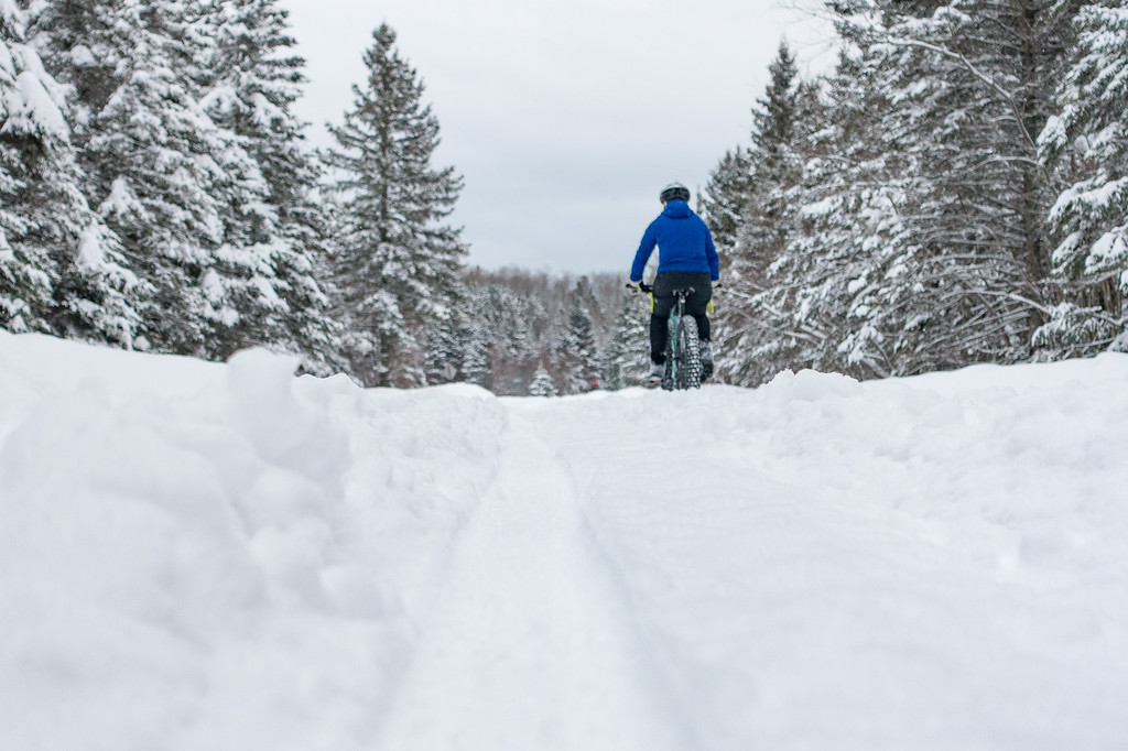 """WEDNESDAY, JANUARY 4, 2017<br /> <br /> BIKING 04814<br /> <br /> """"Fat Tracks in Fresh Snow""""<br /> <br /> We got our fat bikes out yesterday and had fun playing in the 6 inches of fresh new snow that fell!  Enjoying the last day in the mid-20's before we get hit with a cold snap.  It's been an awesome week of skiing and biking with the comfortable temps we've been having.  Forecasted highs for the next 4 or 5 days aren't any more than 5 degrees above zero.<br /> <br /> Camera: Sony DSC-RX100M3<br /> Focal Length: 56mm<br /> Exposure Time: 1/400<br /> Aperture: f/3.2<br /> ISO: 400"""