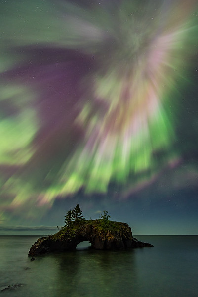 "SATURDAY, JULY 29, 2017<br /> <br /> AURORA 6385<br /> <br /> ""Hollow Rock, Aurora Explosion""<br /> <br /> Here's another previously unreleased photo of the unforgettable night of aurora that occurred on June 23, 2015.  <br /> <br /> Camera: Nikon D750<br /> Lens: Nikon 14-24mm f/2.8<br /> Focal Length: 14mm<br /> Exposure Time: 10 seconds<br /> Aperture: f/2.8<br /> ISO: 800"