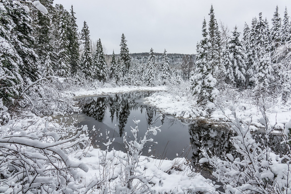 """MONDAY, OCTOBER 30, 2017<br /> <br /> RIVERS 07177<br /> <br /> """"Winter Wonderland (In October!)""""<br /> <br /> I'm still a little bit in disbelief at how much snow we received so early this year.  In all my years of living in northeast Minnesota (which in another month will be 42) the earliest I can remember getting this much snow this early is the Halloween """"mega-storm"""" of 1991.  And that was on Halloween... this year it was 4 days before Halloween!  <br /> <br /> That year Duluth (150 miles south of where I live) got a dumping of about 36 inches of snow.  It started snowing on Halloween night and didn't stop for 4 days.  Here in Grand Portage we had maybe 6 inches, if I remember correctly.  This year on October 27th/28th Grand Portage received anywhere from 2 or 3 inches (on the Lake Superior shoreline) to as much as 8 to 12 inches (a few miles inland from Lake Superior).  <br /> <br /> Most of the snow fell overnight between the 27th and 28th.  I spent the majority of the day on the 28th driving around up in the woods making photographs of the fresh winter beauty.  Speaking of which... it's still more than 50 days until winter officially arrives!  Kind of hard to believe...<br /> <br /> Camera: Sony DSC-RX10M3<br /> Focal Length: 24mm<br /> Exposure Time: 1/125<br /> Aperture: f/5.6<br /> ISO: 200"""