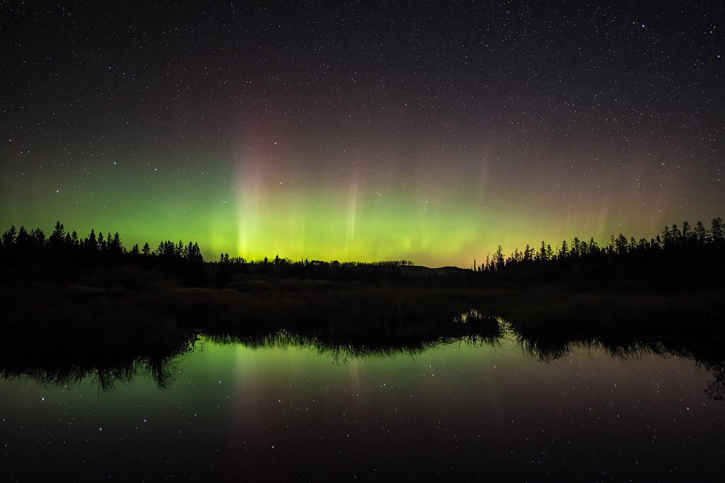 """FRIDAY, OCTOBER 13, 2017<br /> <br /> AURORA 3304<br /> <br /> """"October Glow""""<br /> <br /> The Northern Lights came out for a surprise show last night!  While I missed the """"best"""" part of the show, which occurred early in the evening (before 9:00 PM), I did still catch them glowing nicely between 11:00 PM and midnight.  It had been quite windy during the day yesterday but after nightfall the wind died down to pretty much nothing.  This made for some nice reflections of the stars in the water on this pond.  <br /> <br /> Camera: Nikon D750<br /> Lens: Nikon 14-24mm f/2.8<br /> Focal Length: 20mm<br /> Exposure Time: 25 seconds<br /> Aperture: f/2.8<br /> ISO: 2500"""