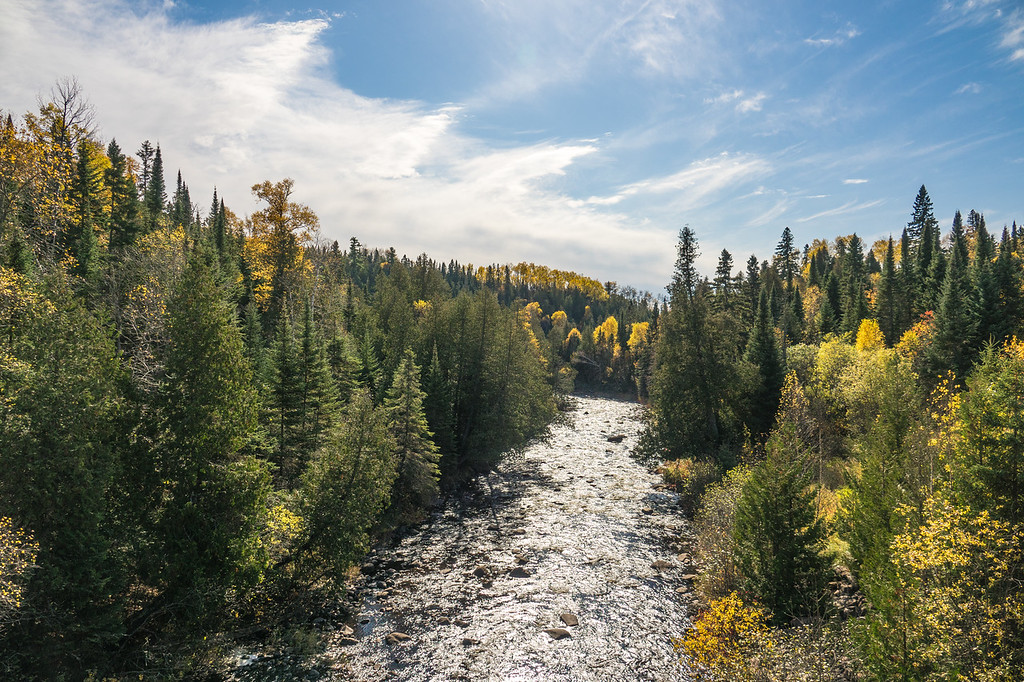 """SUNDAY, OCTOBER 15, 2017<br /> <br /> CASCADE RIVER 06601<br /> <br /> """"Autumn on Cascade River""""<br /> <br /> I went for a drive in the woods yesterday followed by a bike ride in the woods.  This photo was taken as I was driving out to the area where I wanted to bike.  It's the Cascade River in Cook County, MN photographed from the County Road 45 bridge that spans the river.  <br /> <br /> Camera: Sony DSC-RX10M3<br /> Focal Length: 24mm<br /> Exposure Time: 1/2000<br /> Aperture: f/4<br /> ISO: 64"""