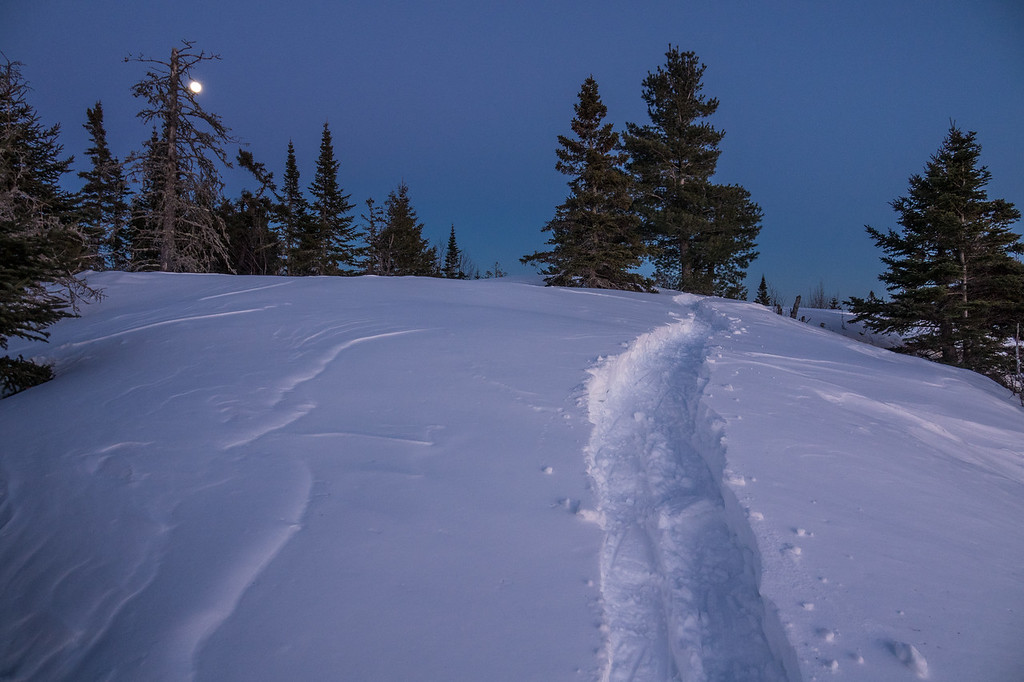 """""""Snowshoe Trail and Moon - Mt. Josephine"""""""