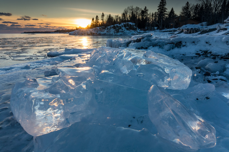 """Lake Superior Sunset Ice"""