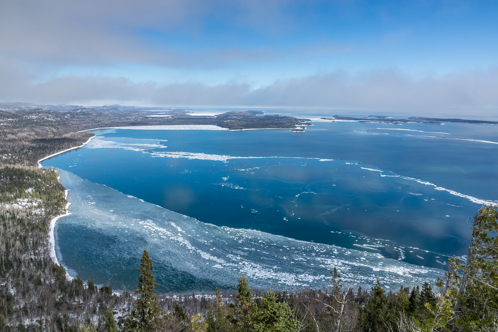 """Winter Ice on Wauswaugoning Bay"""