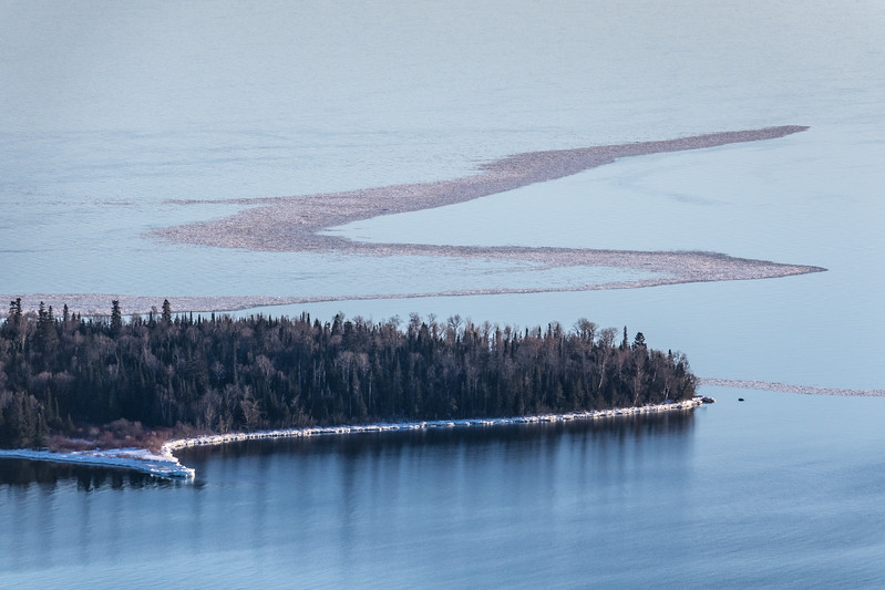 """Ice Line off Pete's Island (Grand Portage Island)"""