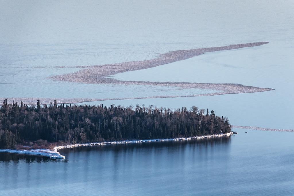 """Ice Line off Pete's Island (Grand Portage Island)"""
