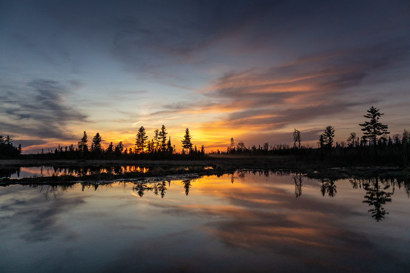 """Beaver Pond Sunset, Arrow River Road"""