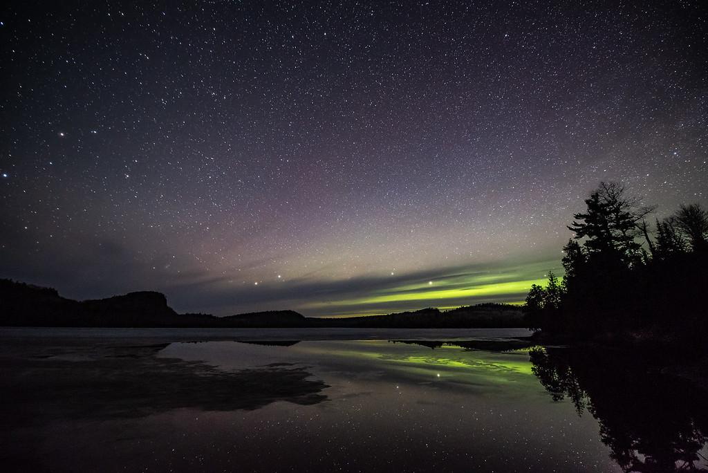 """Dim Aurora over McFarland Lake"""