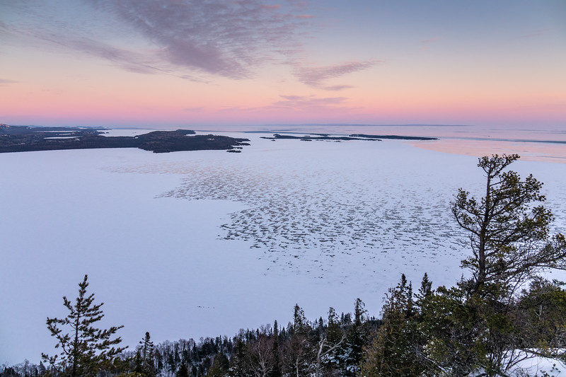 """Winter Sunset over Wauswaugoning Bay and the Susie Islands"""