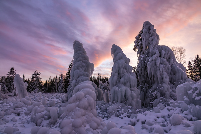 """Sunset in the Frozen Forest"""