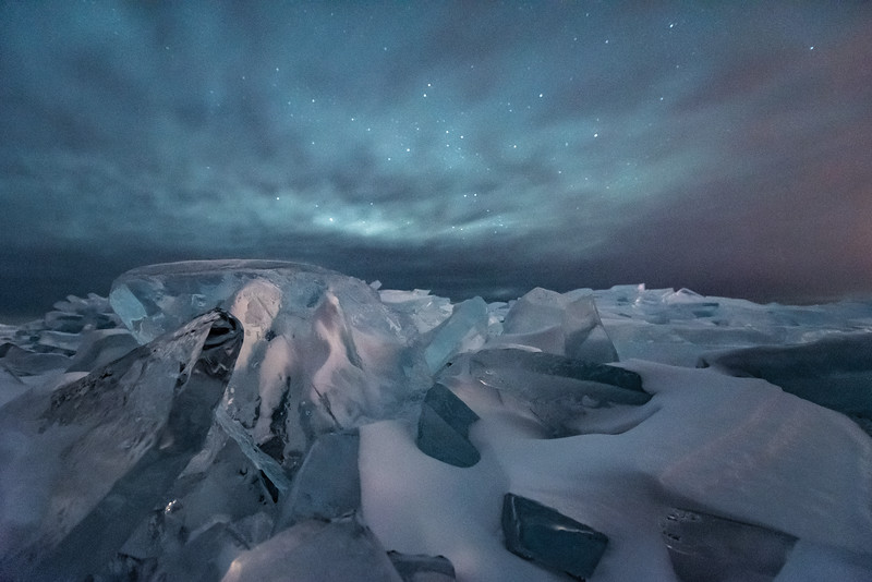 """Ice Piles under the Night Sky"""