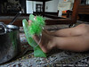 Jack's green fluffy high heels