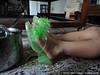 Jack's green fluffy high heels