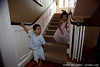 Jack Nuttall and Kira Robertson on the stairs