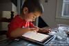 Jack Nuttall with Dad's iPad