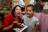 Livia and Jack enjoy cake