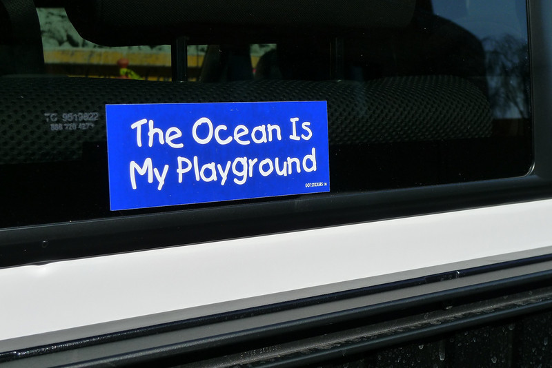 """The Ocean Is My Playground"" - The bumper sticker Steve Drogin gave to his friends"