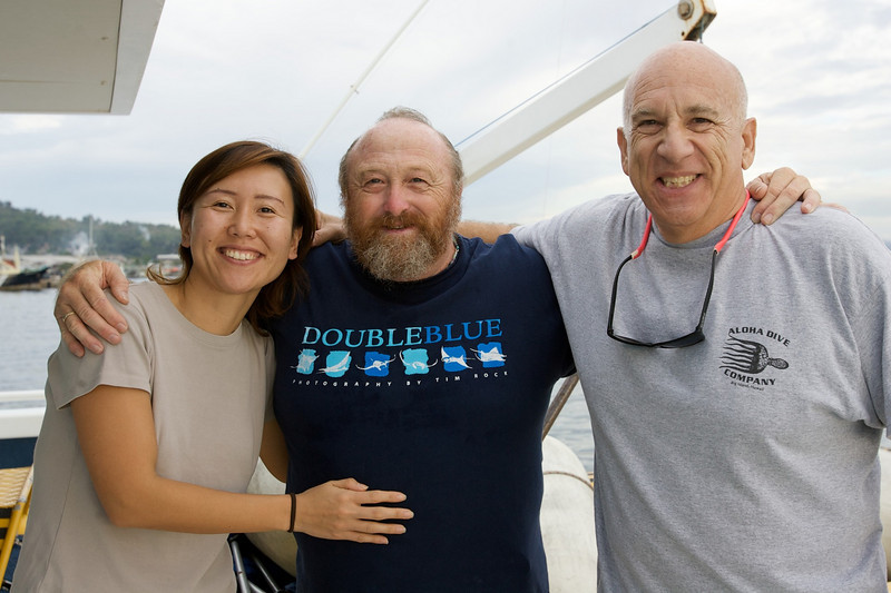 Hiro Drogin, Larry Smith and Steve Drogin aboard the Adventure Komodo in Indonesia. December 6, 2004.  Photo: Eric Cheng