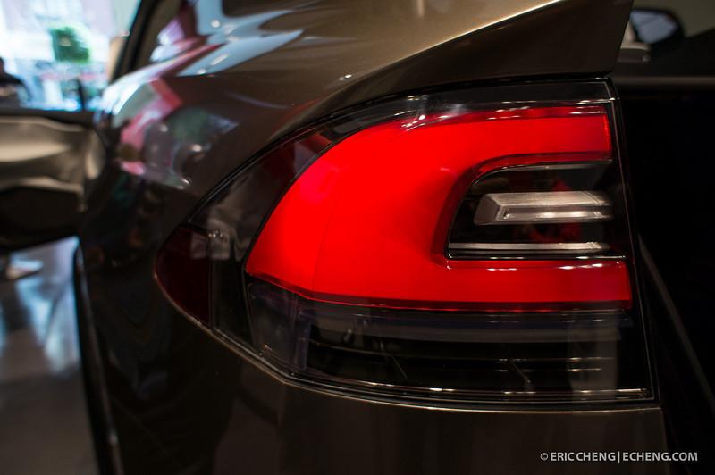 Rear light detail. Telsa Model X prototype at Santana Row, San Jose on March 18, 2012