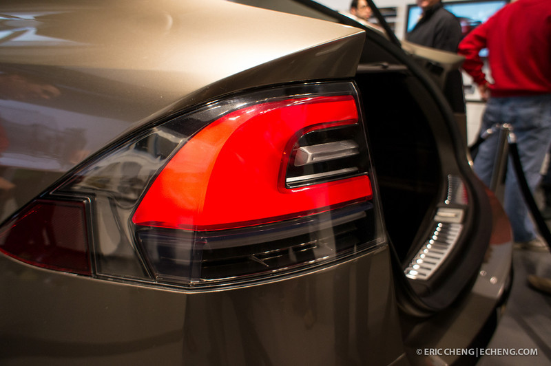 Rear light detail. Telsa Model X prototype at Santana Row, San Jose on March 18, 2012